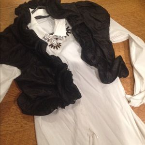 Black bolero ruffle crop jacket coverup puff